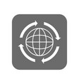 customer service icon with globe sign vector image