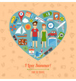Heart Shaped Travel Background vector image