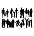 parent and children happy family silhouettes vector image