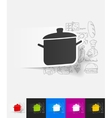 saucepan paper sticker with hand drawn elements vector image