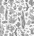 Seamless summer pattern of sea life vector image