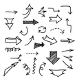 Set of hand-drawn arrows on white background vector image