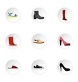 Types of shoes icons set flat style vector image