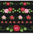 vintage roses on the black vector image