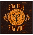 Wild and Free vintage typography with a head of vector image