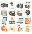 Media communications icons set cartoon style vector image