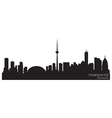 Toronto canada skyline detailed silhouette vector image