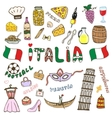 Doodle hand sketch collection of Italy icons vector image