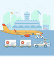 airport aircraft terminal and airplanesineart vector image