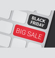 black friday big sale text on laptop keyboard vector image