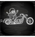 Hand Drawn Bikie on a Motorbike vector image
