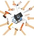 Hands with home repair diy renovation housework vector image