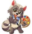 raccoon artist vector image