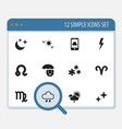 set of 12 editable climate icons includes symbols vector image