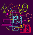 Symbols of traveling and navigation on abstract vector image