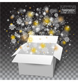 White Christmas Open box snow and glitter falls vector image