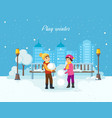 boy and girl sculpt a snowman in good moo vector image