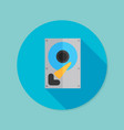 hard drive disk flat icon with long shadow eps10 vector image