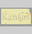 kansas accurate exact detailed state map with vector image