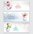 Christmas banners with snowmen vector image vector image