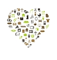 family and home icons in heart vector image