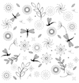 flowers and dragonflies vector image