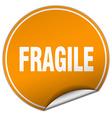 fragile round orange sticker isolated on white vector image