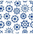 Blue sailing ships helms seamless pattern vector image vector image