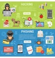 Cyber Crime hacking and phishing Banners vector image