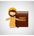 jesus christ open arms with bible design vector image