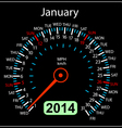 2014 year calendar speedometer car in January vector image