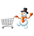 Snowman and shoppingcart vector image vector image