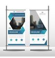 blue hexagon business roll up banner flat design vector image
