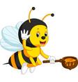 Flying bee cartoon holding honey bucket vector image