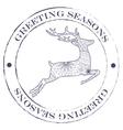 Greeting seasons vintage stamp with deer vector image