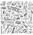 working tools doodles vector image