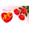 red roses and a box vector image vector image