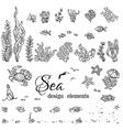 set of underwater marine design elements vector image