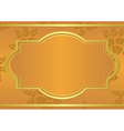orange card with golden frame vector image vector image