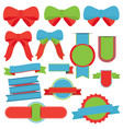 banner christmas collection green isolated red vector image