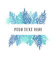 blue tropical leaves vector image