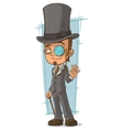 Cartoon intelligent man with walking stick vector image