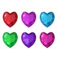 Jewelry heart set Gemstones hearts shaped vector image