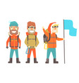 three mountain climbers with mountain climbing vector image