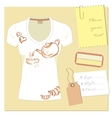 white t-shirt design with a label a place for an vector image