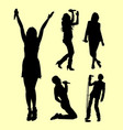 singer male and female action silhouette vector image