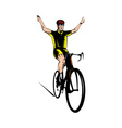 cyclist riding bicycle flashing victory sign vector image vector image