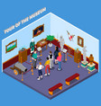 tour of museum isometric composition vector image