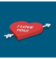 Isometric heart with love you text vector image vector image