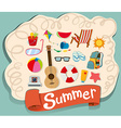 Summer theme with beach objects vector image vector image